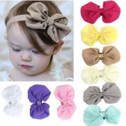 Baby Headband Set, Lishy 9PC Bowknot Chiffon Elastic Flower Hairband