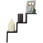 Arad Black 3 Steps Ladder Type Shaped Wall Shelf