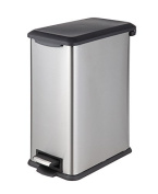 HomeZone VA41392A 30L Stainless Steel Rectangular Step Trash Can,