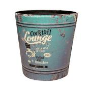 European Style Retro PU Leather Wastebasket Paper Basket Trash Can Dustbin Garbage Bin without Lid - Cooktail Lounge Pattern