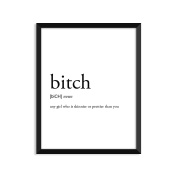 Bitch Definition, College Dorm Room Decor, Dorm Wall Art, Dictionary Art Print, Office Decor, Minimalist Poster, Funny Definition Print, Definition Poster, Inspirational Quotes