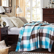BDUK Cotton Towels Are Pure Cotton Double Lunch Blankets Air-Conditioning Quilt Blanket Leisure Blankets Dream-Blue