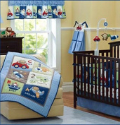 Sunny Star Boy Baby Bedding Set Toys Cartoon Nursery Quilt Bumper Sheet Crib Skirt (Pack of 8 Pieces)