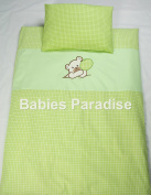 Babies Paradise Green Cheque Applique 2 Piece Baby Bedding Set with Bear Design