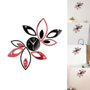 """SZTARA Modern Design Art Wall Stickers 3D Flower Lotus Clock Wall Stickers Decal Decoration Home Office DIY Removeable Stickers Black and Red 36cm×35cm/14.17""""×13.78"""""""