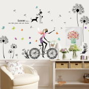 Dandelions Girl English Letters Love Wall Sticker Decal Home Paper PVC Murals House Wallpaper Bedroom Kids Babys Living Room Art Picture Decoration