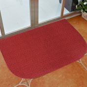 Y & K Decor Half-round Soft and Absorbent Non-Slip Bath Rug Red