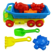 Beach Toys Deluxe Playset for Kids - 7 pieces Large Dump Truck Sand Shovel Set (Assorted Colours) by Liberty Imports