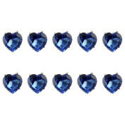 Jewellery of Lords Ten 10x10mm Dark Blue Heart Crystal Silver Plated Hair Pin Wedding Bridal Bride Prom Bobby