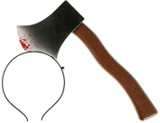 Spooky Costume Harreifen Black Bloody Axe To The Head Hair Band Unisex Carnival Mardi Gras Hairband Hairpin Hair Ribbon Extra Thin With Ax In Head Hair Hoop (Cleaver) 4810