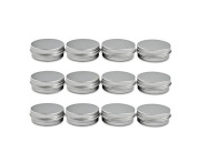 12 pcs of 2 Oz, 60 ML Gramme Jar Cosmetic Sample Silver Aluminium Tins Empty Slip Slide Round Containers With Tight Sealed Twist Screwtop Cover Small Ounce for Lip Balm Make Up Eye Shadow Powder