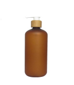 250ml 8oz Empty Refillable Amber Frosted Plastic Shampoo Shower Gel Packing Bottle Container Jar with Natural Bamboo Pump for Makeup Cosmetic Bath Soap Liquid Toiletries