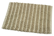 Chardin Home - Plush Pebbles Microfiber Chenille Rug, 50cm x 90cm Soft & highly absorbent mat, Machine washable, Beige Ivory