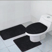 3-Piece Quinn Solid Bathroom Accessory Set Bath Mat Contour Rug Toilet Lid Cover - Black