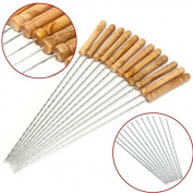 12 Pcs BBQ Kebab Skewers Stainless Steel Barbecue Twisted Roasting Needle Sticks with Wooden Handle