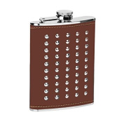 Hip Flask Stainless Steel Dark Brown Leather Studded 240ml