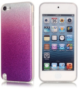 iPod Touch 6th/5th Generation Pink/Purple Glitter Back Silicone Tpu Bumper Case Cover with Clear Edges+2 Screen Protector