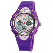 WISE® Kids Girls Watches, Dual Time Colourful Dial Waterproof 100m Sports Casual Wrist Watches with Bling Bling Moon Star Pattern 2001ad Purple