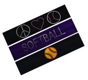 SOFTBALL Player Gift Set (Set of 3) Softball Cotton Stretch Headbands By Funny Girl Designs