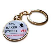 Sherlock 221B Baker Street Gold Tone Key Ring/Fob