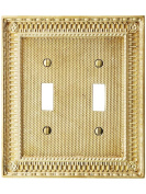 Pisano Double Gang Toggle Switch Plate In Unlacquered Brass