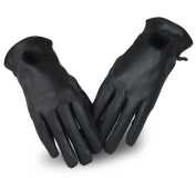 SALE - Women Winter Touch Screen PU Leather Gloves - WITERY Thick Warm Fleece Windproof Gloves Cold Proof Thermal Mittens - Ideal for Dressing / Driving / Cycling / Motorcycle / Camping