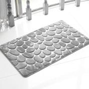 Dark Grey New Non-slip Door Mat Absorbent Flannel Carpet Bath Feet Pad Bedroom Pebbled Rug #3