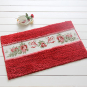 Lopkey Super Fine Fibre Pastoral Rose Area Rug and Carpet Bath Mat Doormat Bathroom Mat Cute Arear Rug 45cm 70cm Red