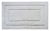 Chardin Home Classic Bath Rug, Large 70cm x 110cm Linen 100% Pure Cotton, Super Soft, Plush & Absorbent with Latex Spray Non-skid Backing, White