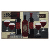 Structures Textured Loop 46cm x 80cm . Oblong Kitchen Accent Rug, Wine Time, Beige/Red/Grey