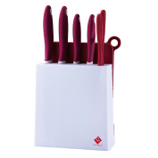 Set of 7 Pieces - Knives Stainless Steel Non-Stick Colour Random burgundy