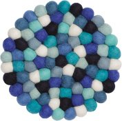 myfelt Felt Ball Coaster - Emma - 20 cm, Blue/White