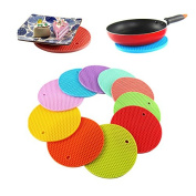 Round Silicone Pot Holder/Rivet Mat/Hot Pads/Silicone Heat Resistant Coasters/Cup Insulation Mat/Tableware Insulation Pad Non-Slip Mat