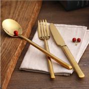 24K Gold Cutlery 4Pcs Stainless Steel Flatware Tableware Dinner Spoon Polishing Plated Dinnerware Flatware Set
