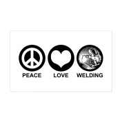 CafePress - Peace Love Welding Rectangle Sticker - Rectangle Bumper Sticker Car Decal