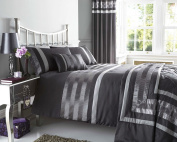 SINGLE SIZE - duvet set with satin pintuck detail in plum charocal or black - includes quilt cover and pillow case