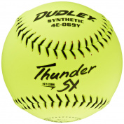 Dudley NSA Thunder SY Hycon 0.52 Slowpitch Synthetic Cover Softball (1-Dozen), Yellow, 30cm