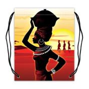 Afro American Women Polyester Fabric Basketball Drawstring Bags Drawstring Tote