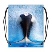 Whale Fabric Basketball Drawstring Bags