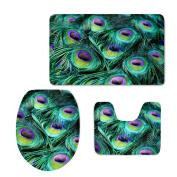 Bigcardesigns Fashion Peacock Feather Designs Bathroom Mats Set