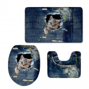 Bigcardesigns DIY Cat Print Bathroom Non-slip Mats Set