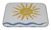 Gear New Bath Rug Mat No Slip Microfiber Memory Foam, Blue Sun And Sea, 24x17
