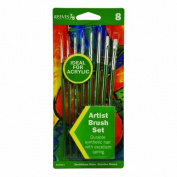 Reeves 8 White Nylon Brushes for Acrylic by Reeves