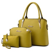 ZiXing Ladies PU Leather Shoulder Bags Totes Handbags with Matching Wallet Purse 3 Pieces Set