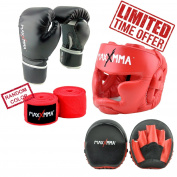 MaxxMMA Pro Style Boxing Gloves 12,420ml + Red Headgear + Micro Mitts +300cm Nylon/Poly Hand Wrap in random colour