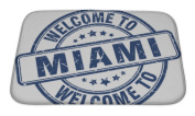Gear New Bath Rug Mat No Slip Microfiber Memory Foam, Welcome To Miami Blue Round Vintage Stamp, 24x17