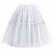 SCFL Adult Ballet Tutu Layered Organza Lace Mini Skirt Women's Princess Petticoat Tutu Tulle Midi Knee Length Skirt Underskirt for Prom Party