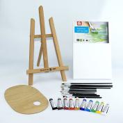 """25 pcs Set 16"""" Easel, 20x30cm canvas A4, AcrylicPaints 10x12ml, 12 Brushes, Pelette - Painting Kit"""