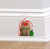Full Colour Christmas Elf Workshop Wooden Door Wall Sticker Decal Santa Sack Candy Cane Skirting Board Festive Mural