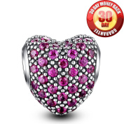 Glamulet 925 Sterling Silver Paved Crystal Heart Love Charms Beads Fits Pandora Bracelet, Ideal Gifts, Magenta Ideal Jewellery Gifts for Birthday, Anniversary, for Women, Mom, Wife, Girls